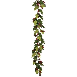 "Felt Holly Berry Garland - green, red, brown - 55""l x 11""w x 6""h"