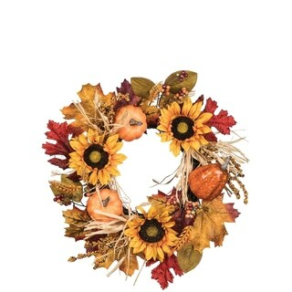 "Autumn Wheat & Sunflower Accent Ring - 19""l x 6.5""w x 19""h"