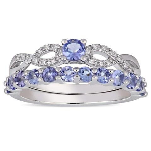 Miadora Sterling Silver Tanzanite 1/10ct TDW Diamond 2-Pc. Infinity Bridal Ring Set