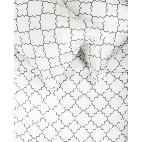 Printed Design Cotton Collection 400 Thread Count Grey Lattice Duvet Set