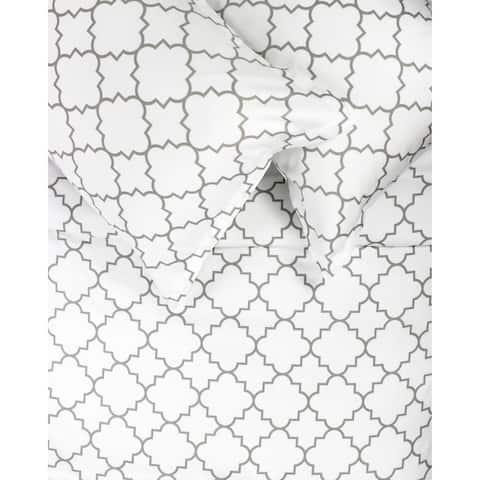 Printed Design Cotton Collection 400 Thread Count Grey Lattice Duvet Set