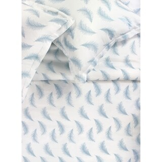 Printed Design Cotton Collection 400 Thread Count Blue/White Floating Feather Duvet Set