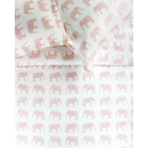 Printed Design Cotton Collection 400 Thread Count Pink Elephants Duvet Set