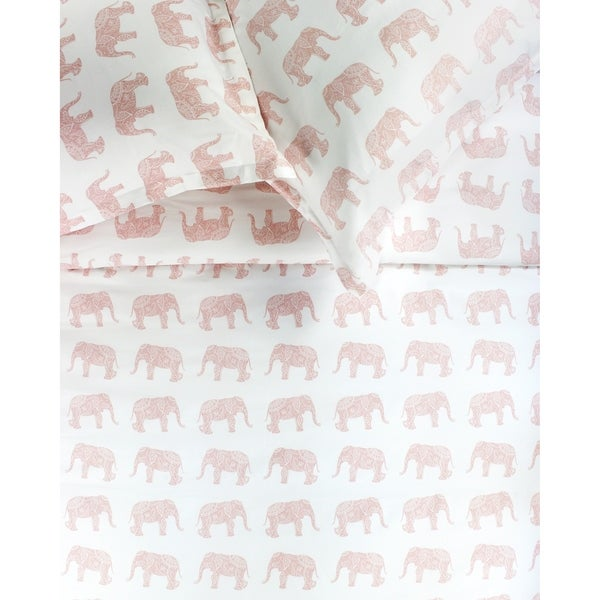 Printed Design Cotton Collection 400 Thread Count Pink Elephants Duvet Set. Opens flyout.