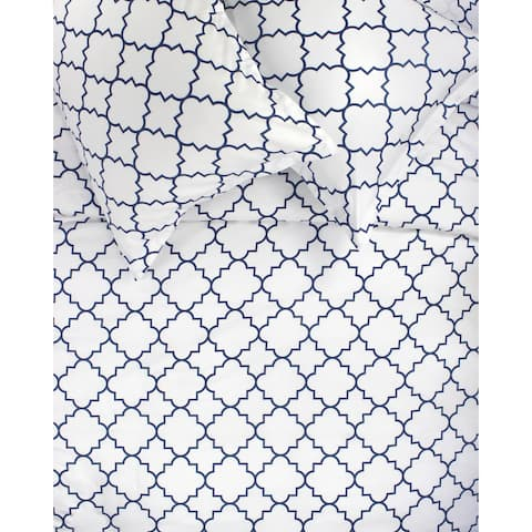Printed Design Cotton Collection 400 Thread Count Navy Lattice Duvet Set