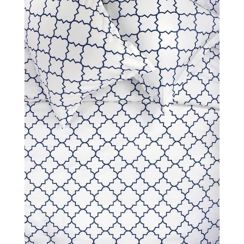Printed Design Cotton Collection 400 Thread Count Navy Lattice Duvet Set