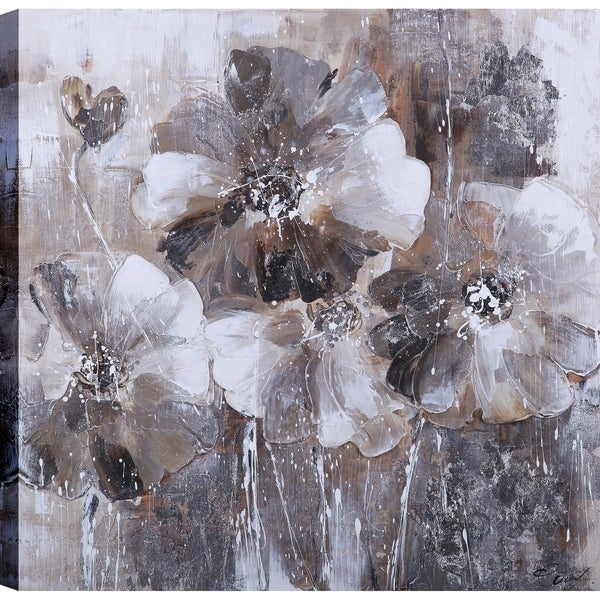 e741211a27f Shop ArtMaison Canada  Black and White Flower Love Blossoms II  Floral Art  24-inch x 24-inch Ready to Hang Canvas Print Wall Art - On Sale - Free  Shipping ...