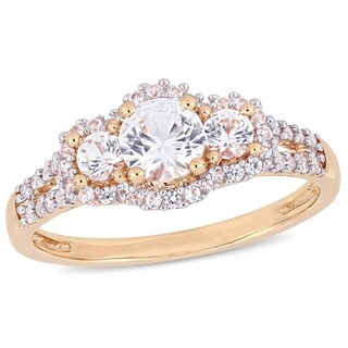 Miadora 10k Rose Gold Created White Sapphire 1/10ct TDW Diamond 3-Stone Engagement Ring