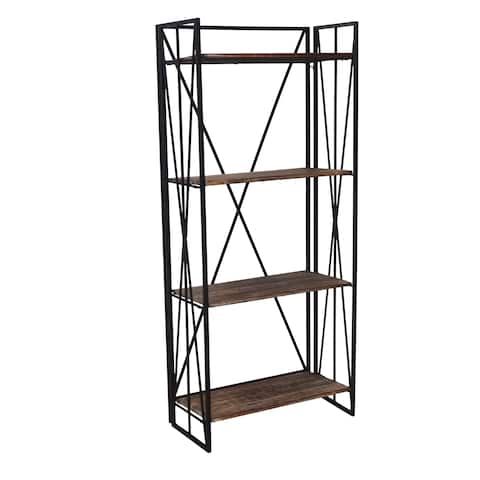 Jeco Brown Metal and Wood Bookcase Shelf