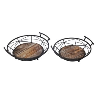Set of 2 Wood and Metal Tray