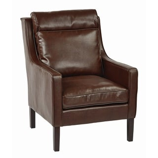 OSP Accents Colson Bonded Leather Accent Chair with Solid Wood Legs