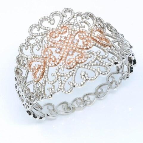Two Tone White & Rose Gold Filigree Diamond Bangle Cuff Bracelet - N/A