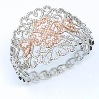 Two Tone White & Rose Gold Filigree Diamond Bangle Cuff Bracelet