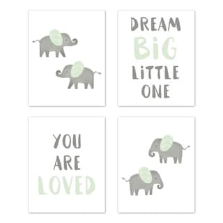 Sweet Jojo Designs Mint and Grey Watercolor Elephant Safari Collection Wall Decor Art Prints (Set of 4) - Dream Big