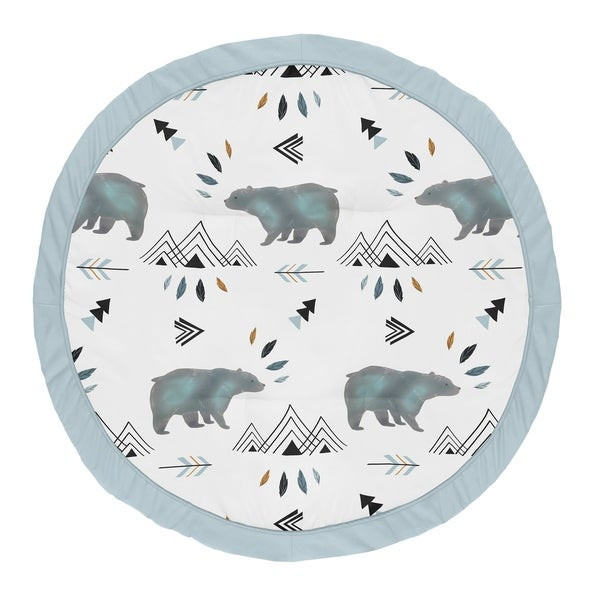 Sweet Jojo Designs Slate Blue Bear Mountain Watercolor Collection Baby Tummy Time Playmat
