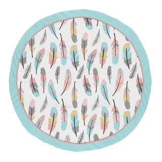 Sweet Jojo Designs Turquoise and Coral Boho Feather Collection Baby Tummy Time Playmat