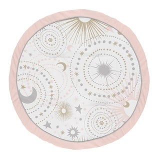 Sweet Jojo Designs Blush Pink, Gold and Grey Star and Moon Celestial Collection Baby Tummy Time Playmat