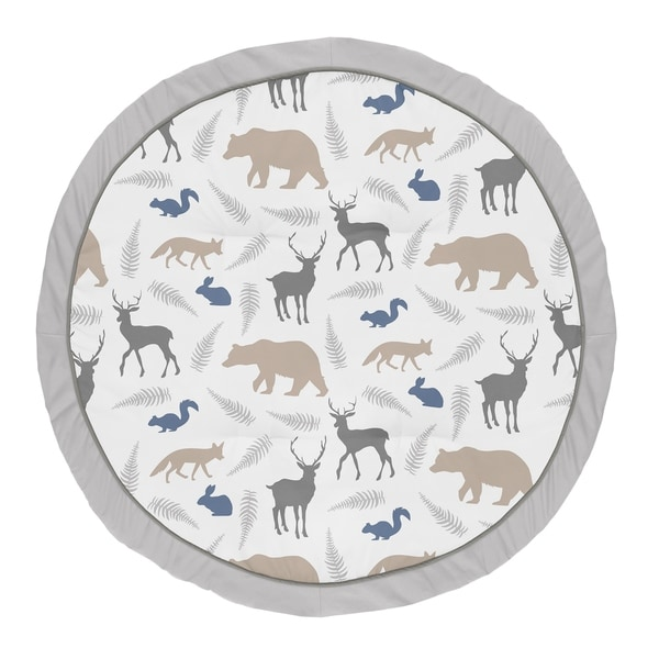 Sweet Jojo Designs Blue and Grey Woodland Animal Collection Baby Tummy Time Playmat