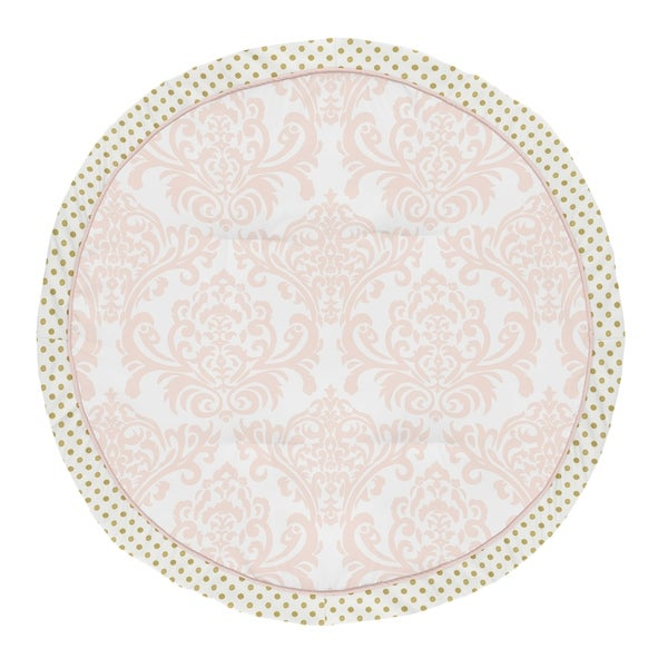 Sweet Jojo Designs Blush Pink, Gold and White Damask and Polka Dot Amelia Collection Baby Tummy Time Playmat