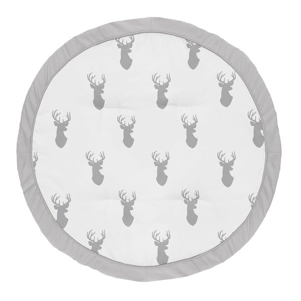 Sweet Jojo Designs Grey and White Stag Woodland Deer Collection Baby Tummy Time Playmat