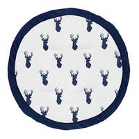Sweet Jojo Designs Navy Blue and White Stag Woodland Deer Collection Baby Tummy Time Playmat