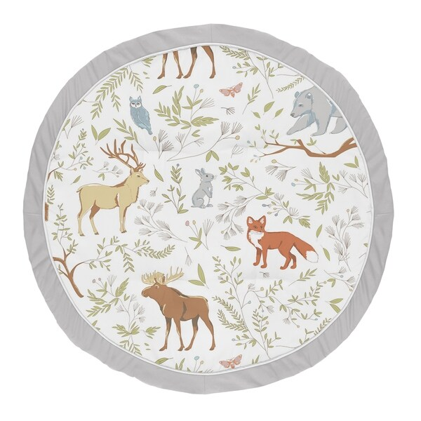 Sweet Jojo Designs Grey, Green and Brown Woodland Animal Toile Collection Baby Tummy Time Playmat