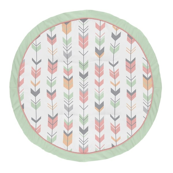 Sweet Jojo Designs Coral, Mint and Grey Woodland Arrow Woodsy Collection Baby Tummy Time Playmat