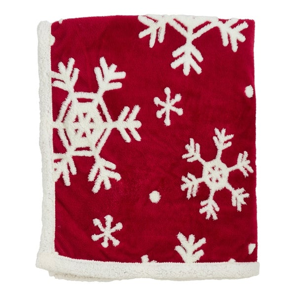 Sherpa Throw Blanket With Snowflake Design