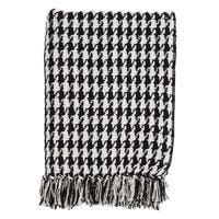 Cotton Throw With Houndstooth Print