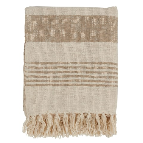 Cotton Throw with Striped and Tasseled Design