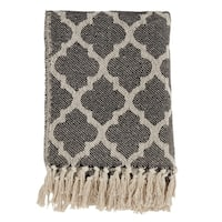 Cotton Throw Blanket With Moroccan Tile Design