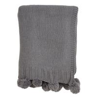 Knitted Throw With Pom Pom Design