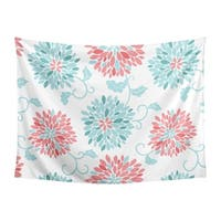 Sweet Jojo Designs Turquoise and Coral Floral Emma Collection Wall Decor Tapestry (60in. x 80in.)