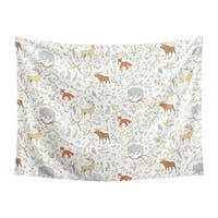 Sweet Jojo Designs Grey, Green and Brown Woodland Animal Toile Collection Wall Decor Tapestry (60in. x 80in.)