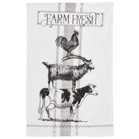 Farm Animals Design Cotton Kitchen Towel (Set of 4)