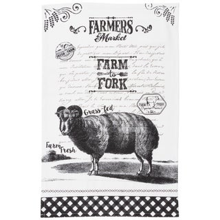 Cotton Kitchen Towel With Farmers Market Print (Set of 4)
