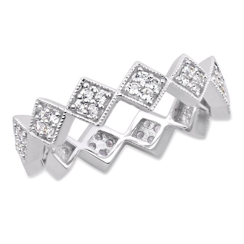 Miadora Sterling Silver White Sapphire Zig Zag Eternity Band