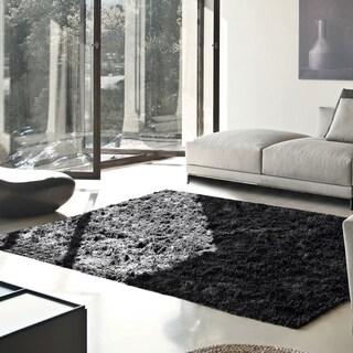 Superior Elegant, Plush, Hand-Woven Black Shag Rug - 3' x 5'