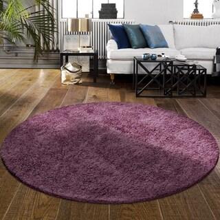 Superior Elegant, Plush, Hand-Woven Purple Shag Round Rug - 4' Round