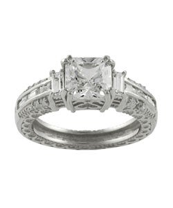 Journee Collection Sterling Silver CZ pave Bridal and Engagement Ring