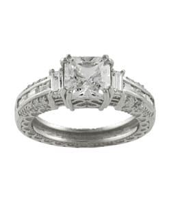 Journee Collection Sterling Silver CZ pave Bridal and Engagement Ring - Thumbnail 1