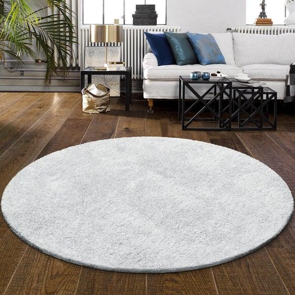 Superior Elegant, Plush, Hand-Woven White Shag Round Rug - 4' Round