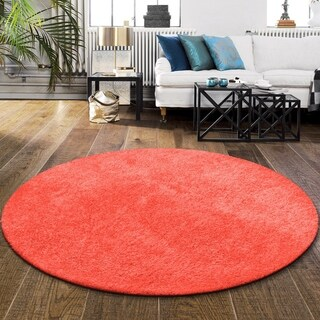 "Superior Elegant, Plush, Hand-Woven Spiced Coral Shag Round Rug - 6'6"" Round"