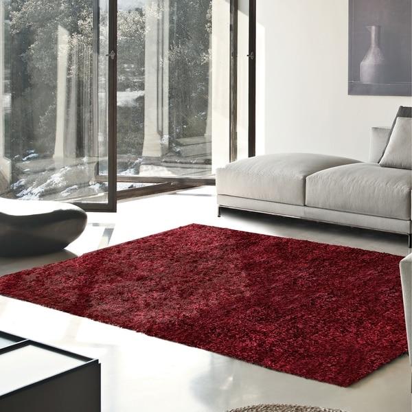 Superior Elegant, Plush, Hand-Woven Burgundy Shag Rug - 6' x 9'