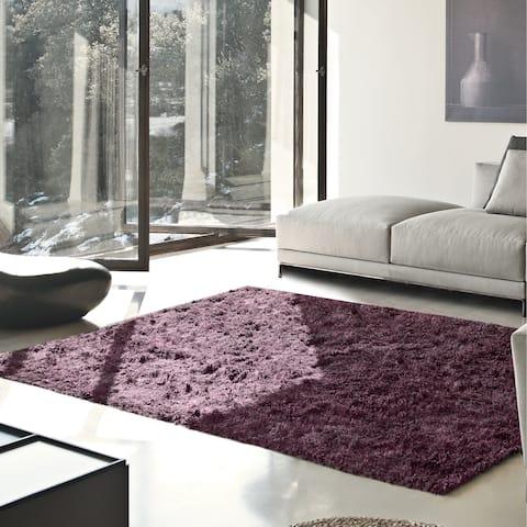 Superior Elegant, Plush, Hand-Woven Purple Shag Rug - 6' x 9'