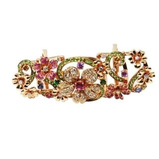 Rose Gold Diamond & Gemstone Flower Knuckle Ring