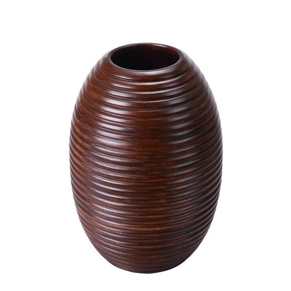 """Villacera 10"""" Tall 7"""" Round Mango Wood Ripple Vase"""
