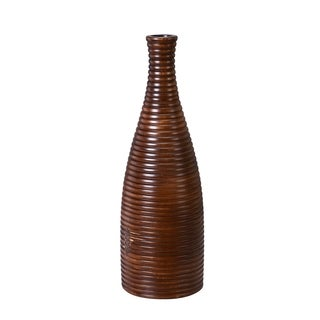 "Villacera Handmade 18"" Tall Bottle Mango Wood Ripple Vase"