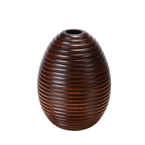 """Villacera 10"""" Tall 8"""" Round Mango Wood Ripple Vase"""