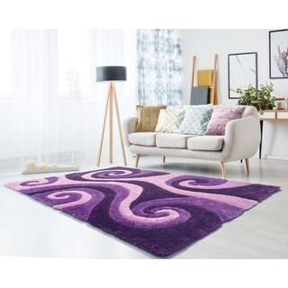 "Westfield Home Sarathiel Leliel Violet Shag Area Rug - 5'3 x 7'2"""